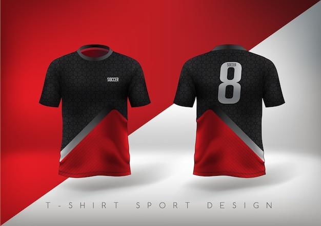 라운드 넥의 슬림 핏 레드와 블랙 축구 스포츠 티셔츠.