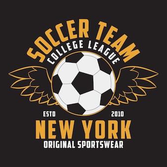 Футбольная спортивная одежда с футбольным мячом с крыльями эмблема типографии для футболки