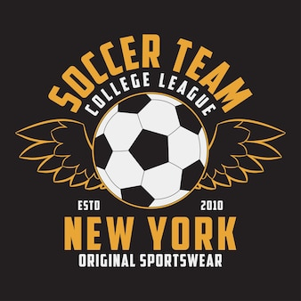 Soccer sports apparel with football ball with wings typography emblem for tshirt