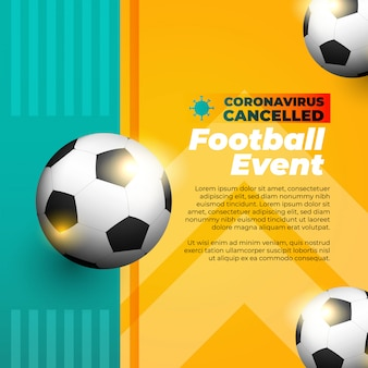Soccer sports event canceled flyer or banner