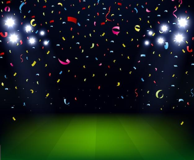 Soccer stadium celebration with confetti on night