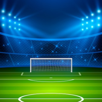 サッカースタジアム。ゴールと明るいスタジアムライトのあるサッカーアリーナフィールド。サッカーワールドカップ。