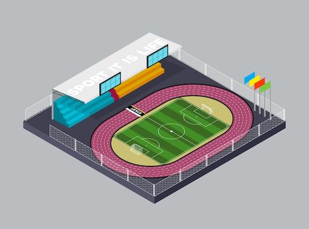 Футбольный стадион футбол футбольное поле и беговая дорожка в изометрическом стиле