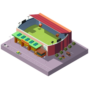 Soccer stadium isometric projection icon