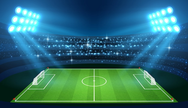 Soccer stadium with empty football field and spotlights vector illustration