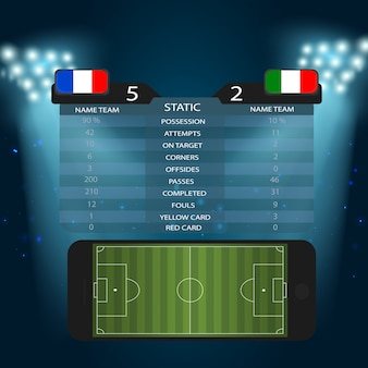 Soccer stadium with smartphone football field