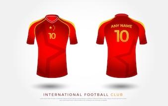 футболка футболка дизайн единый комплект. футболка Джерси красный и желтый