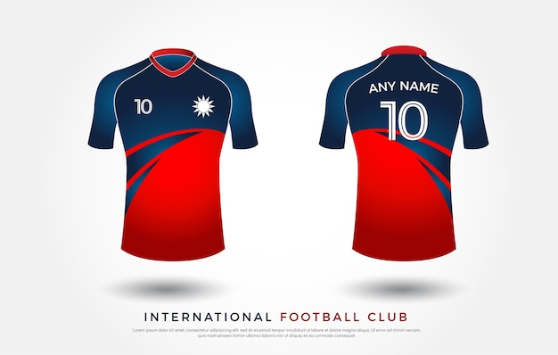 Soccer t-shirt design uniform set. football jersey template. white, blue and red color