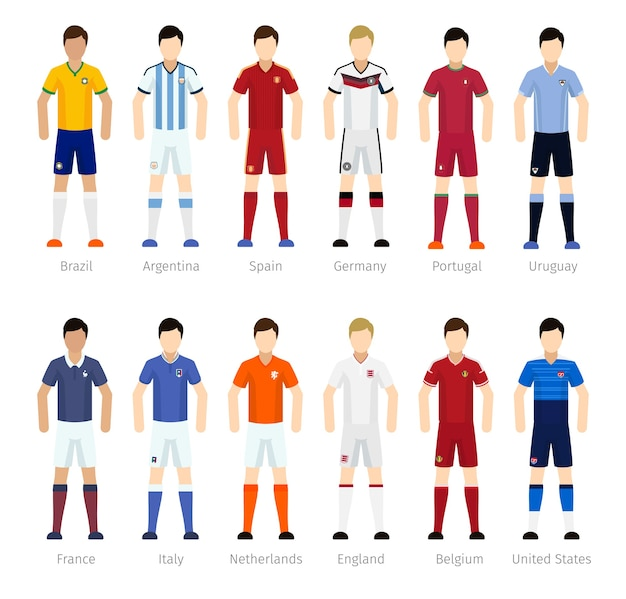 Soccer team or football team players on white background