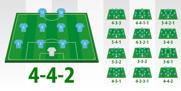 Soccer team formation on half field.