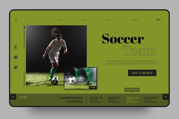 Soccer team sport landing page template