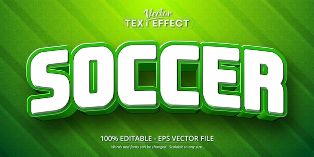 Soccer text, cartoon style editable text effect