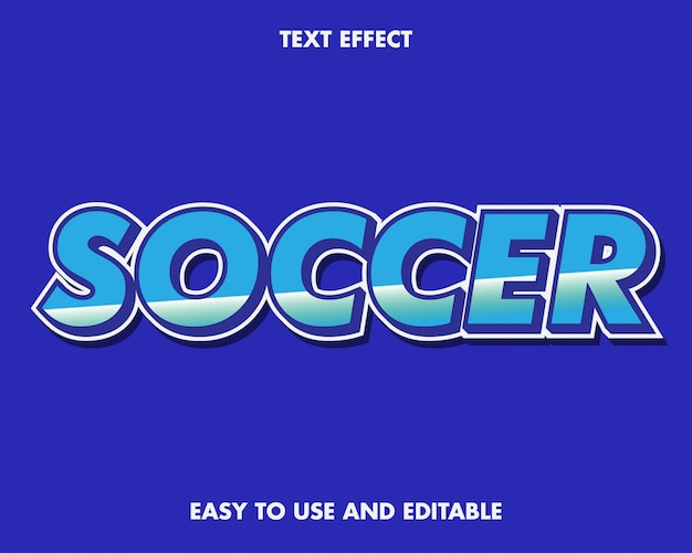 Soccer text effect with modern style. easy to use and editable. premium vector
