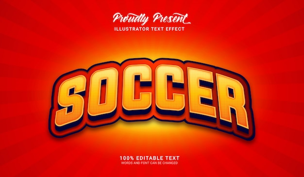 Soccer text style effect. editable text effect Premium Vector