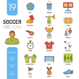 Soccer thin lines color web icon set