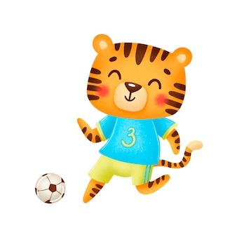 Тигр футбола изолированный на белизне. футбольные животные.
