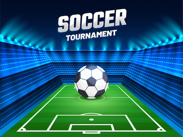 Soccer tournament. background design with illustration of soccer ball on shin
