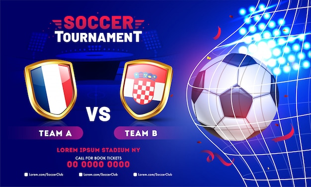Soccer tournament banner template design with soccer ball and teams