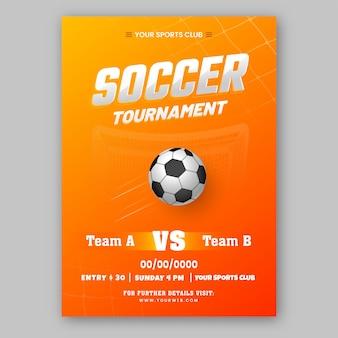 Soccer tournament brochure template design in orange color