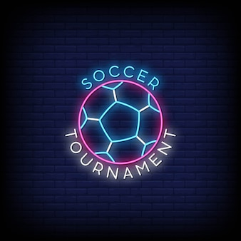 Soccer tournament logo in neon signs