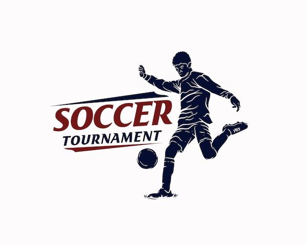 Soccer tournament silhouette logo design template
