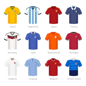 Soccer uniform or football of national teams. argentina brazil spain france germany italy netherlands portugal england.