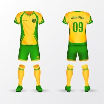 Uniforme da calcio davanti e zaino