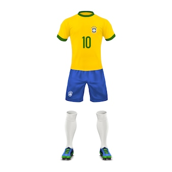 Soccer uniform of a Brazil team, set of sports wear, shirt, shorts, socks and boots