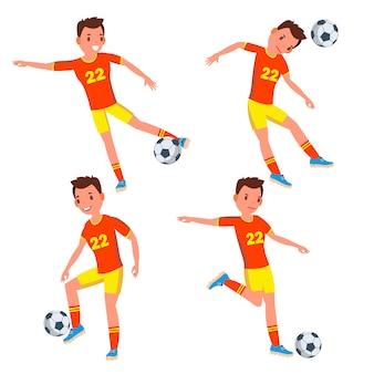 サッカーの青年選手の文字セット