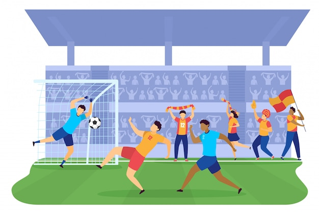 緑の野原のタジウムのイラスト、人々のプロサッカーのゲートにボールを蹴るサッカーサッカー選手。