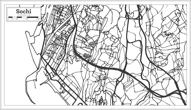 레트로 스타일의 소치 러시아 도시 지도입니다. 개요 지도. 벡터 일러스트 레이 션.