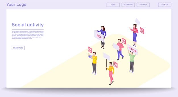 Social activity webpage vector template with isometric illustration, landing page