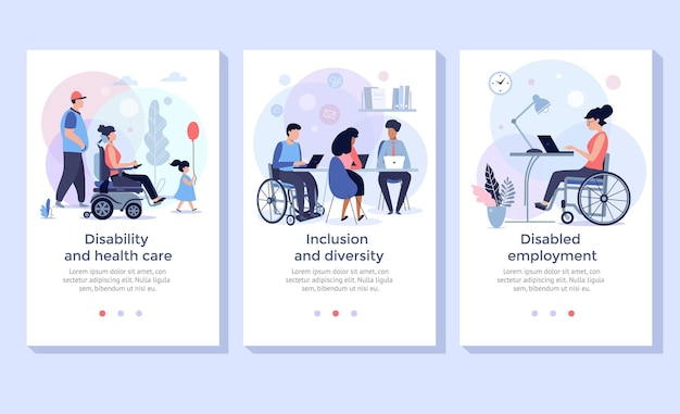 Social adaptation of disabled people handicapped people support wheelchair person at work