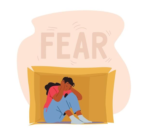 Социальная тревога, концепция страха. одинокий интроверт сидит внутри коробки, закрывая уши. психическое здоровье, проблемы психологии