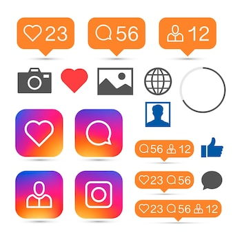 Social app sign set mobile network . vector illustration