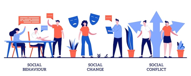 Social behaviour, change and conflict. set of people interaction and communication, arguments