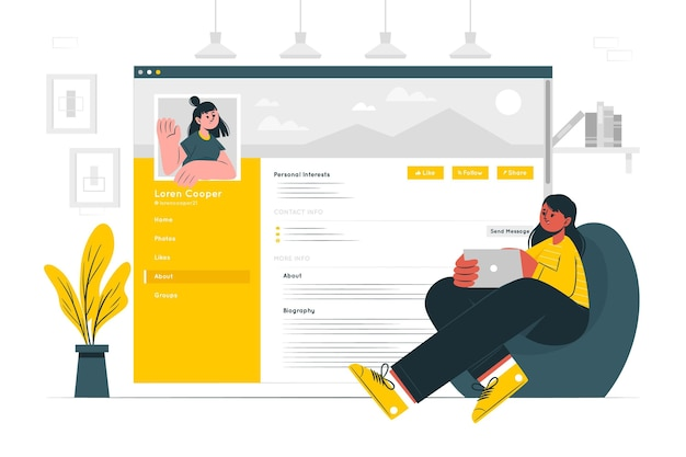 Social biography concept illustration