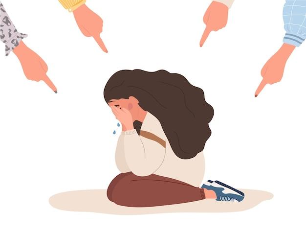 사회적 따돌림. 슬픈 소녀를 가리키는 손가락.