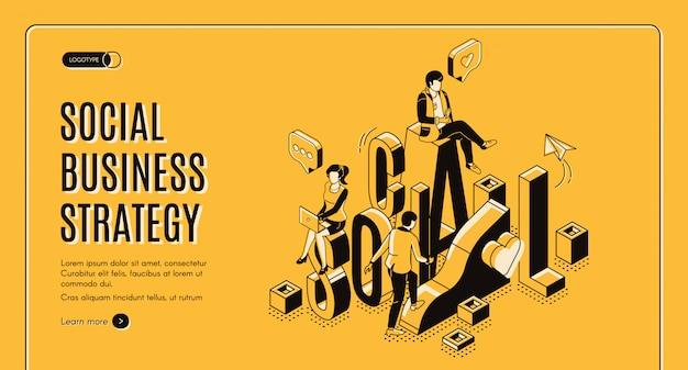Social business growth isometric landing page