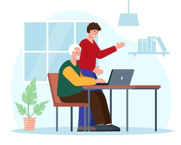 Social care for elderly people concept. young man helps grandfather use computer.