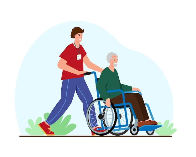 Social care for the elderly young volunteer help senior man ride weelchair and walk