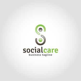 Social care is humanity logo with letter s concept