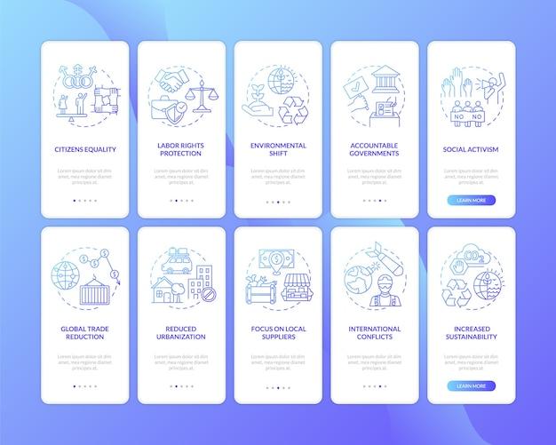 Преимущества социальных изменений на экране страницы мобильного приложения с набором концепций