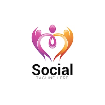 Social charity care heart and human logo
