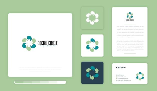 Шаблон оформления логотипа социальный круг