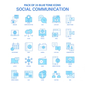 Social communication blue tone icon pack
