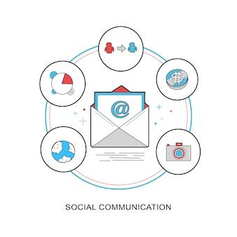 Концепция социальной коммуникации в плоской тонкой линии