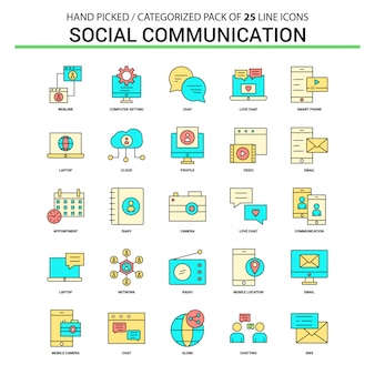 Social communication flat line icon set