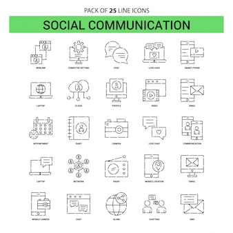 Social communication line icon set - 25 dashed outline style