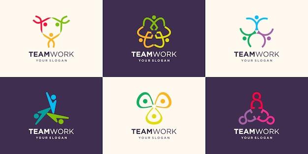 ソーシャルコミュニティグループのロゴデザインテンプレート。抽象人アイコン